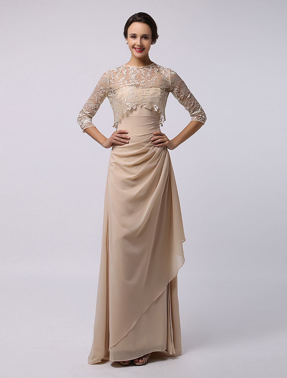 Sheath/Column Ankle-Length Chiffon Ruffle Split Front Mother of the Bride Dress With Lace Wrap Milanoo