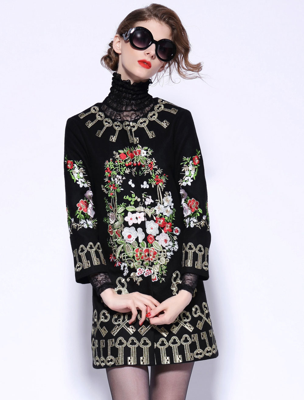 Embroidered Flowers and Keys Wool Blend Coat