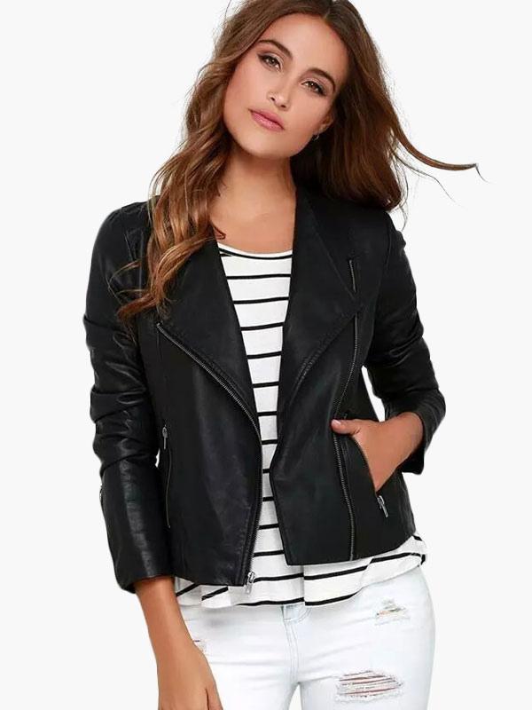 Black Petite PU Leather Jacket - Milanoo.com