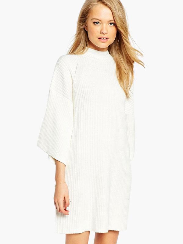 37db1811a Vestido de punto blanco Stand cuello medio mangas algodón mezcla de gran  tamaño -No.