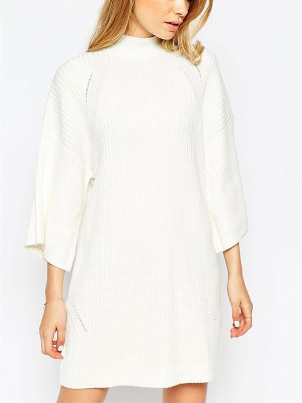 pretty nice 795f8 97e6b Abito in maglia bianco Stand collare mezza manica cotone oversize