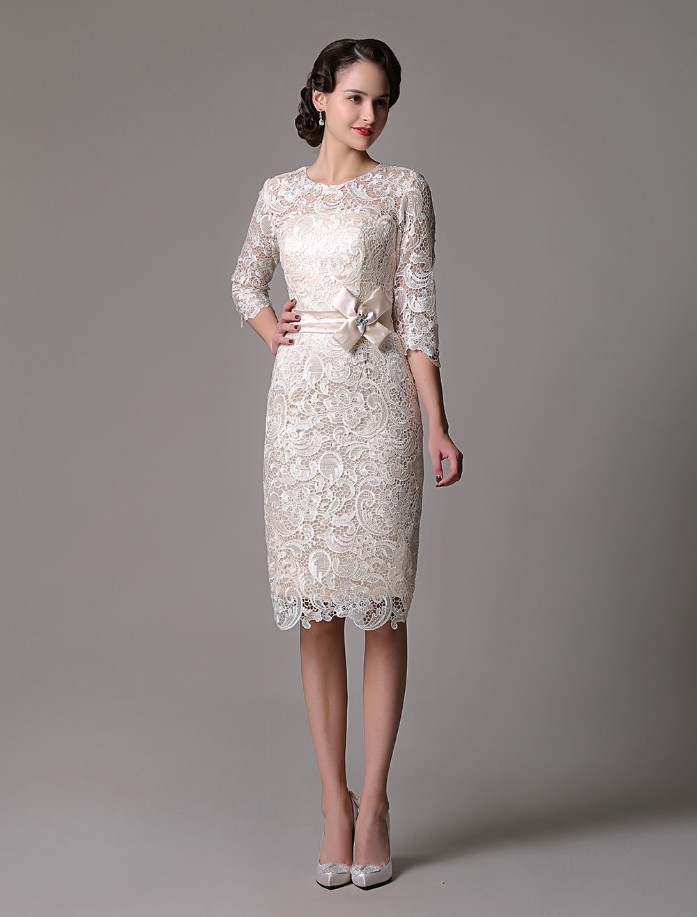 1e7cb49e9f2 Wedding Guest Dresses Lace Sheath Champagne Cocktail Dress Knee Length Half  Sleeves Mother Dress With Satin Belt - Milanoo.com