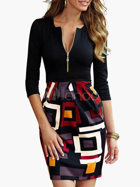 Cotton Long Sleeves Women's Bodycon Dress