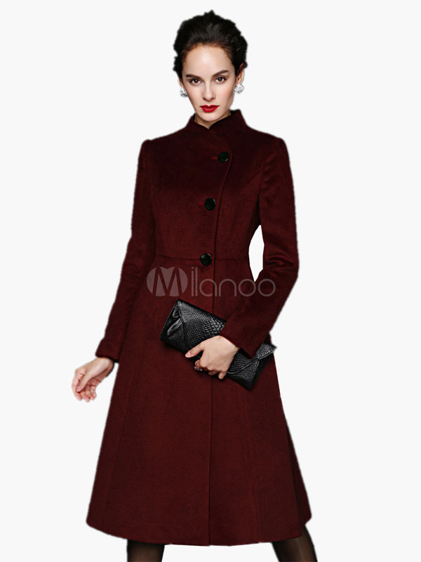 Wool Blend Skater Coat With Pockets