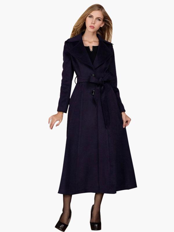 Wool Maxi Coat With Belt