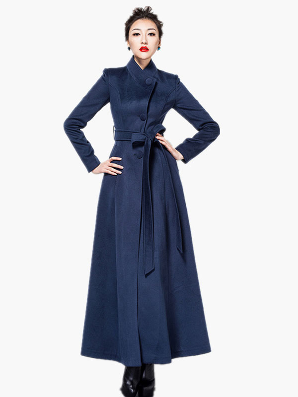 Wool Blend Maxi Belted Coat