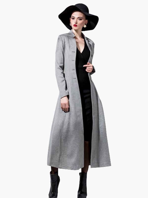 Women Wool Coat Long Sleeve Dress Coat Stand Collar Button Belt Winter Coat