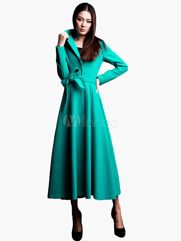 Vinatge Maxi Coat With Lapel and Belt Cheap clothes, free shipping worldwide
