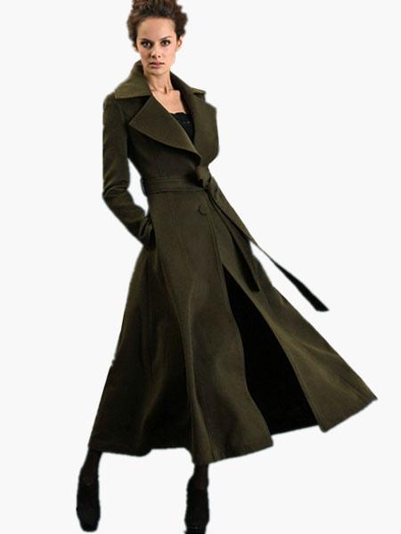 Notch Collar Long Sleeves Maxi Wool Coat