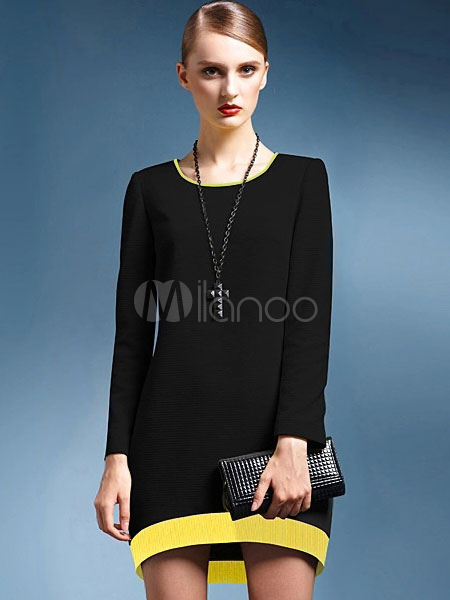 robe droite mode bicolore coupe asym trique. Black Bedroom Furniture Sets. Home Design Ideas