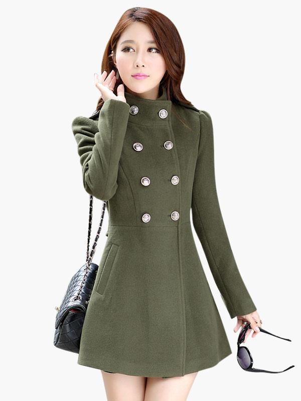 Manteau Pour Croisé Bouton Avec Unicolore Hiver Femme m7vbf6gyYI