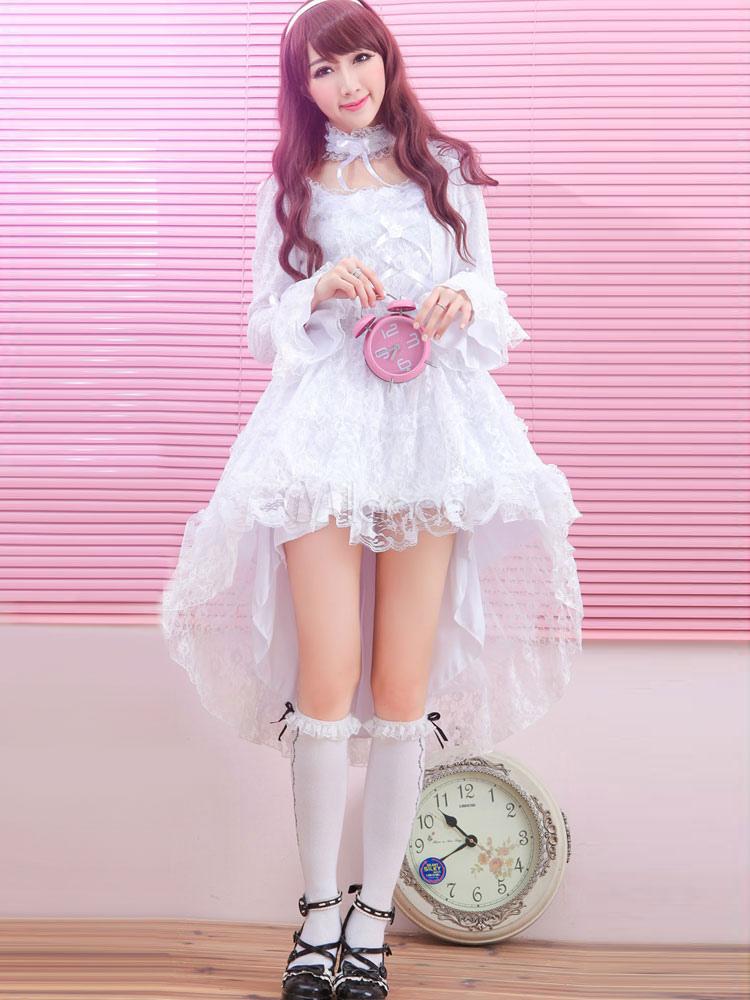 Lolita Wedding Dress White Lace Hime Long Sleeve High Low