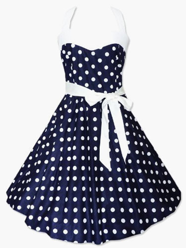 Women's Vintage Dress 1950s Polka Dot Bow Sash Retro Pin Up Rockabilly Dresses
