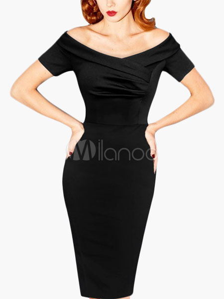 Black Off-The-Shoulder Slim Fit Vintage Dress