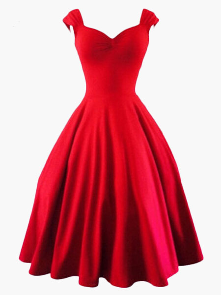 Red Vintage Dress Sweetheart 1950s Style Sleeveless Retro Swing Dress
