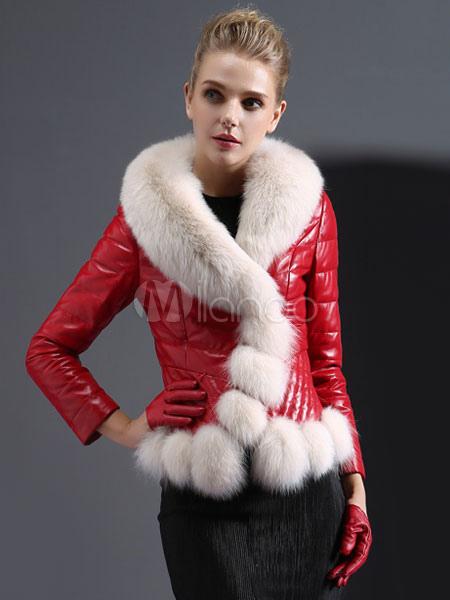 f4945b2e79 Cuscino rosso collo manica lunga in pelle Faux cappotto con collo di  pelliccia di volpe