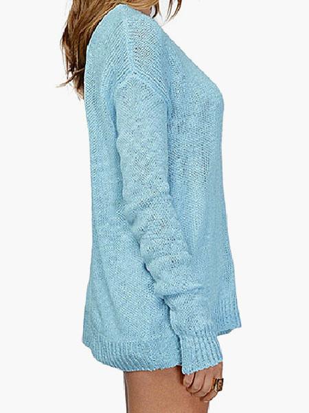 huge selection of b2b9d 1d192 Blaue Scoop Neck ausgeschnitten rückenfreie Roman stricken Damen Pullover  Pullover