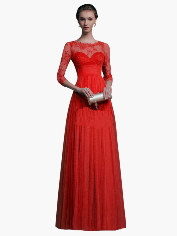 50b21cf7eab Red Maxi Dress Long Sleeve Lace Illusion Sweetheart Long Prom Dresses For  Women-No.