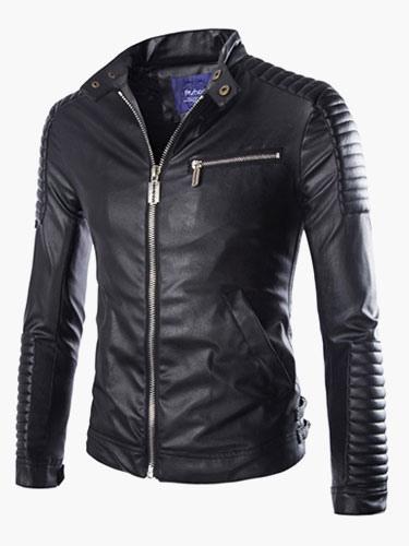 Moto Leather Jacket 2018 Zipper Buckle Embossed Ruched Black Men Jacket