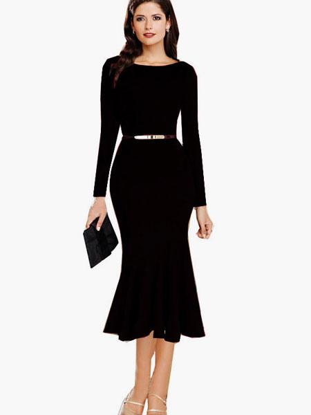 Cotton Blend Long Sleeves Ruffles Bodycon Dress for Women