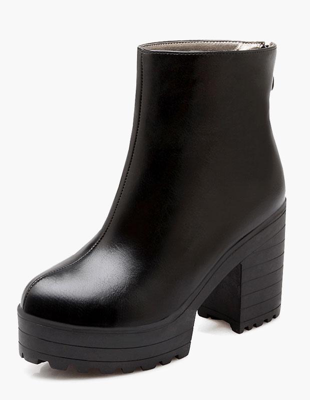 Zipper Round Toe Chunky Heel Booties