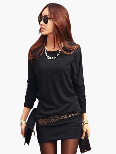 Beautiful Crewneck Sequins Cotton Blend Woman's Mini Dress Cheap clothes, free shipping worldwide