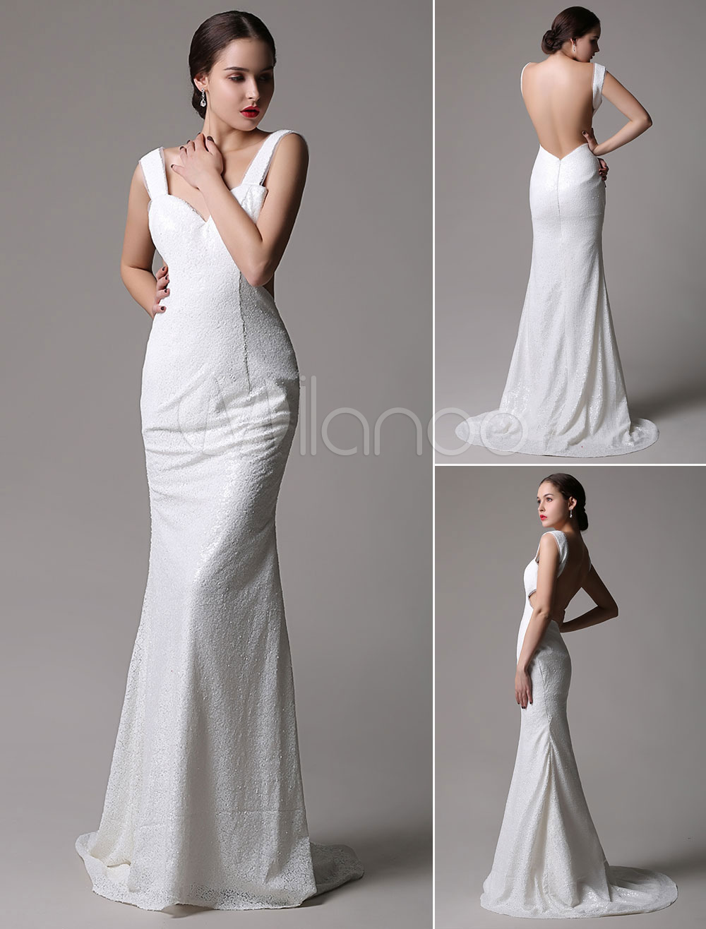 Sexy Ivory Strapy Open Back Mermaid Sequin Dress Cutouts and Subtle Train