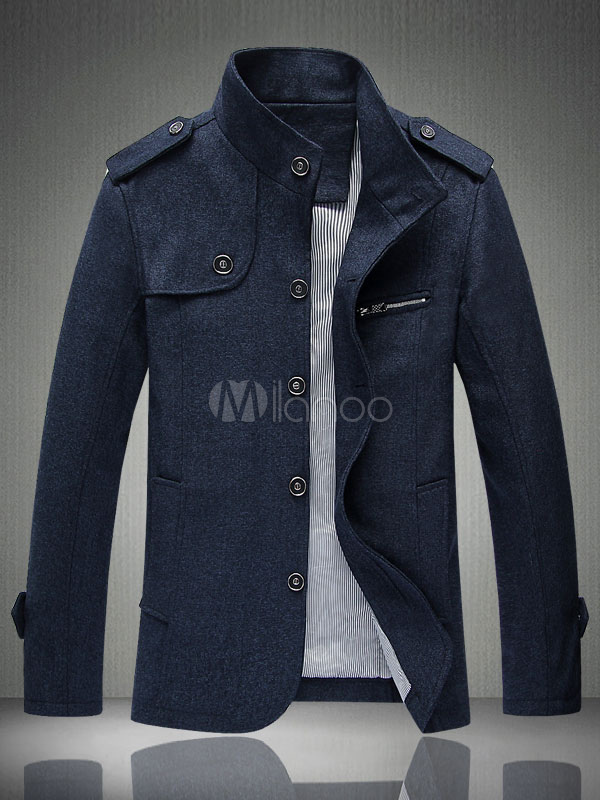 Buy Blue Men Jacket Spring Jacket Stand Collar Long Sleeve Single Breasted Short Jacket for $44.99 in Milanoo store