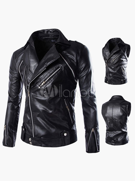 Men Leather Jacket Zipper Surplice Metal Buckle PU Black Moto Jacket