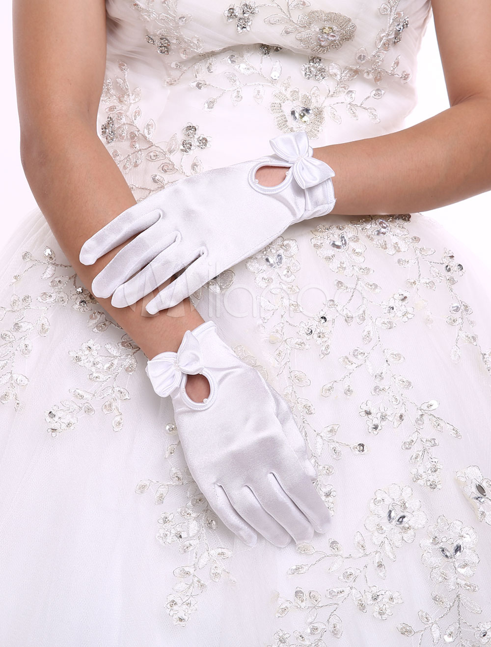 Classical Satin Wrist Length Fingertips Bridal Gloves With Bow