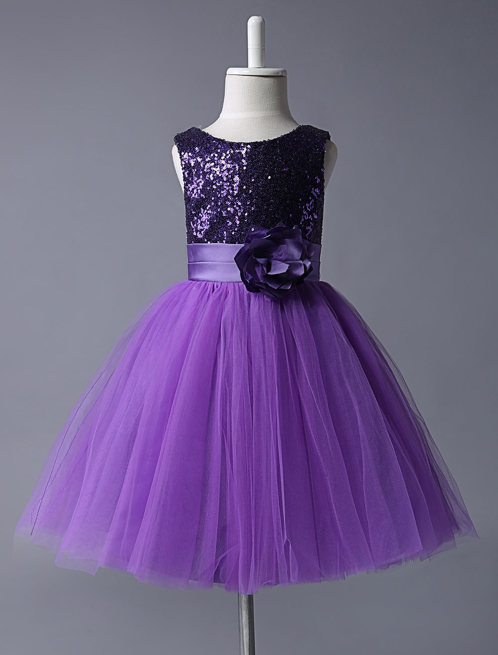 715cf76d754 Purple Flower Girl Dresses Sequined Bodice Tulle Tutu Dress Sleeveless  Flower Sash Short Kids Party Dress - Milanoo.com
