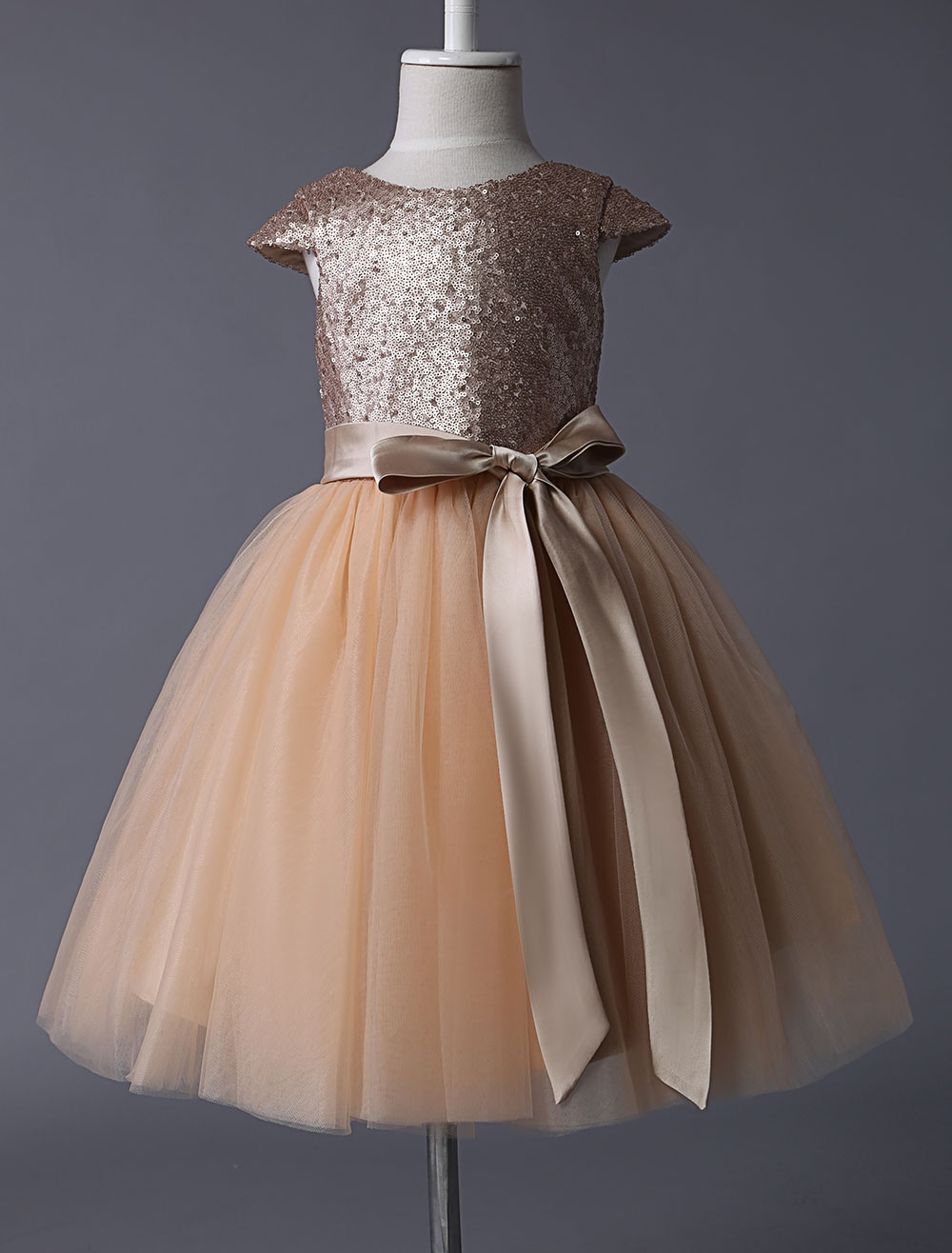 Flower Girl Dresses Champagne Sequined Tutu Pageant Dress Toddlers Cap Sleeves Tulle Short Kids Party Dresses