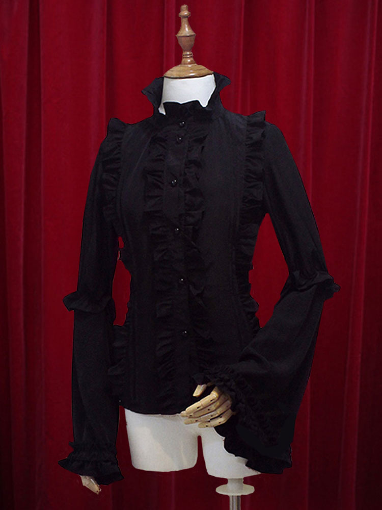 Buy Chiffon Lolita Blouse Long Hime Sleeves Stand Collar Ruffles Lace Up for $52.99 in Milanoo store