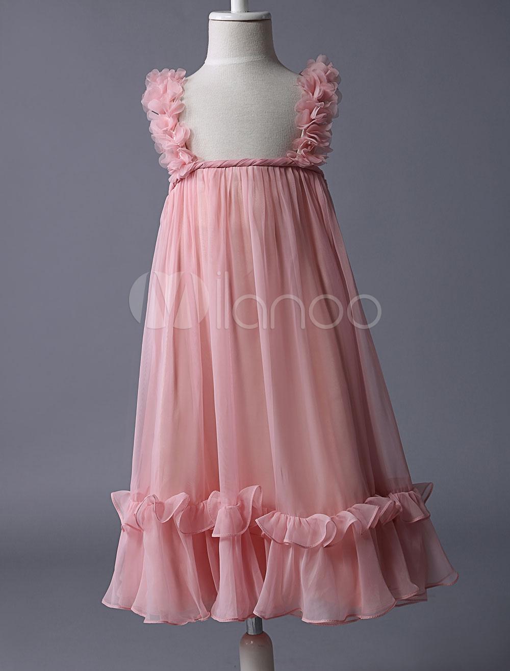 Blush Pink Flower Girl Dress Boho Ruffle Straps Chiffon Little Girls Dresses For Summer