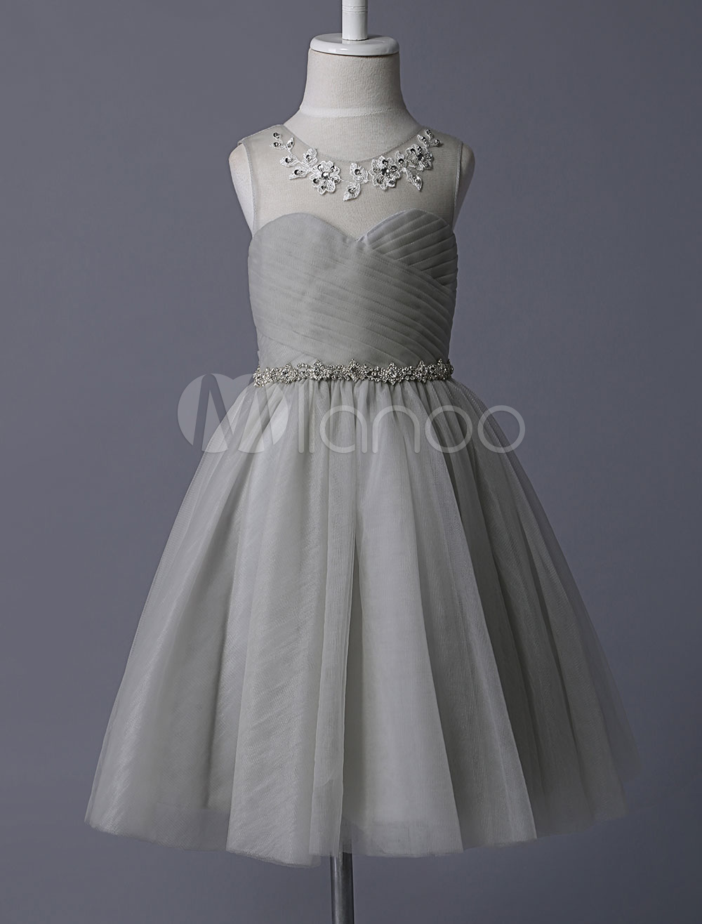 Grey Flower Girl Dresses Illusion Neckline Sequined Embroidered Tulle With Rhinestone Beaded Tutu Kids Party Dresses