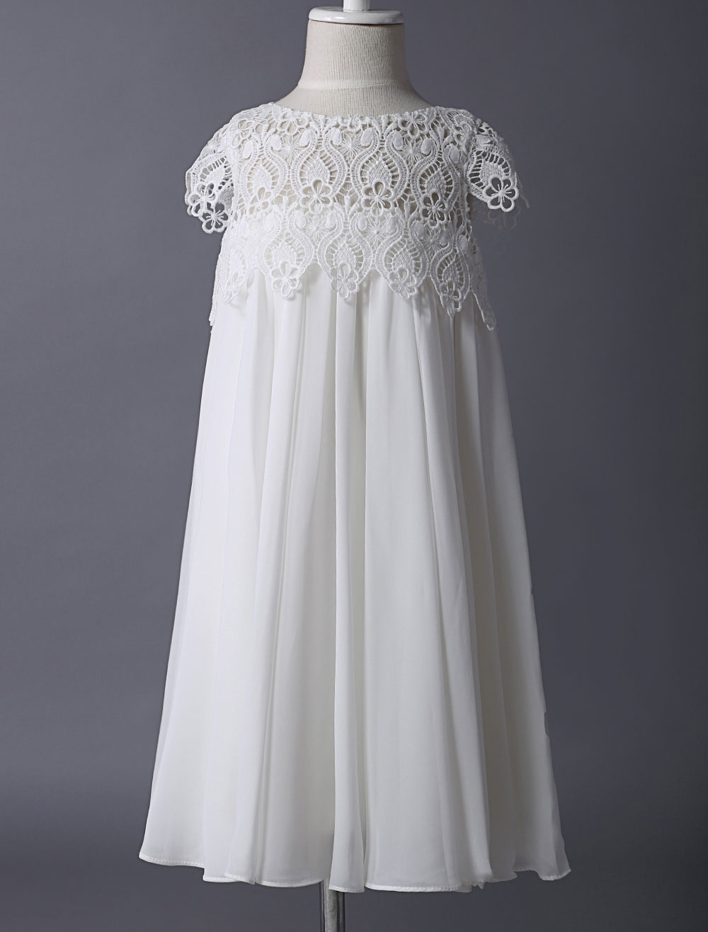 Blumenmädchen Kleider A-Linie- Abendkleider für Hochzeit knielang mit  Rundkragen Hochzeit Chiffon Kurzarm kleid blumenmädchen und Reißverschluss