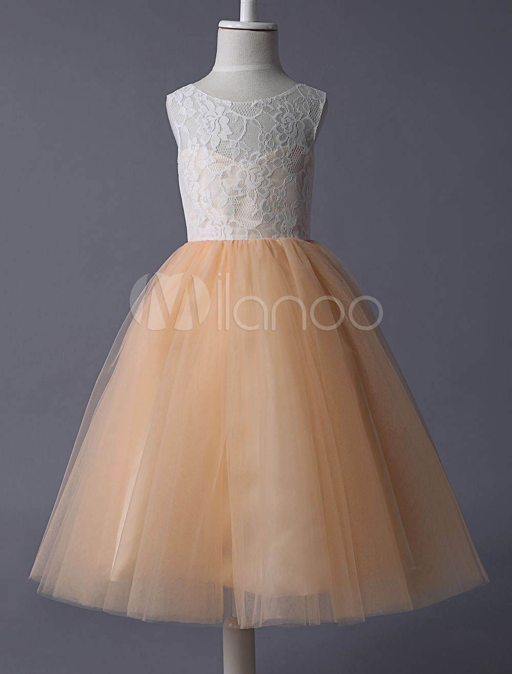b749c6d16ee Ivory Sheer Neckline Lace Top With Champagne Tulle Skirt Flower Girl Dress  - Milanoo.com
