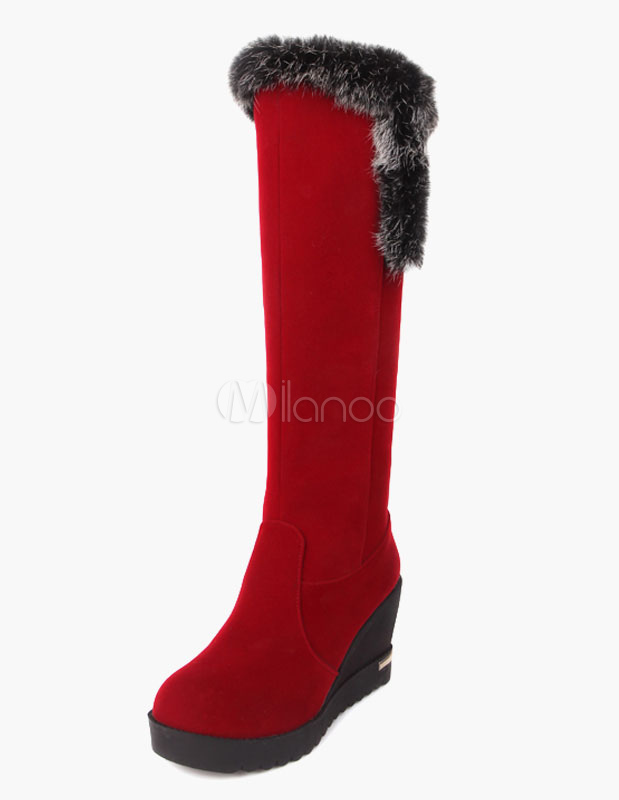 Round Toe Wedge Rabbit Hair Micro Suede Knee Length Boots