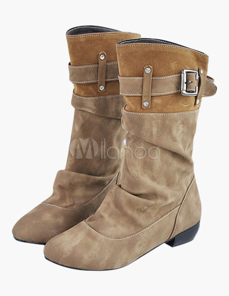 Round Toe Buckle Suede Half Boots