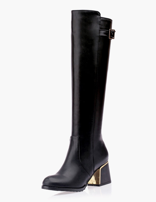 Buckle Round Toe Chunky Heel PU Leather Knee Length Boots