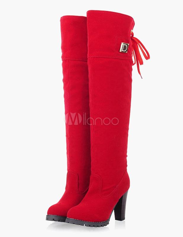 Botas altas de muslo redondas Toe superior de ante superior con botas de rodilla cEfwJXAm