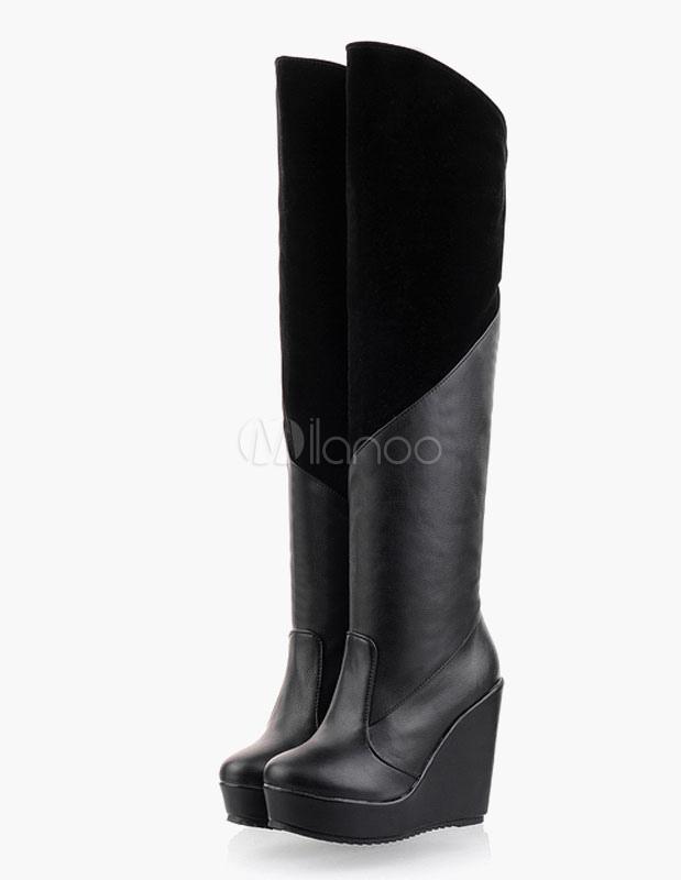 Muslo botas altas dos tonos redonda dedo del pie cremallera pu cuero sobre botas de rodilla Pw30ocP