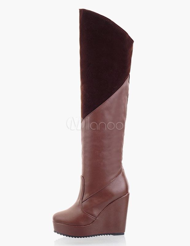 Botas sobre la rodilla de PU con cremallera uYgfxaAc0