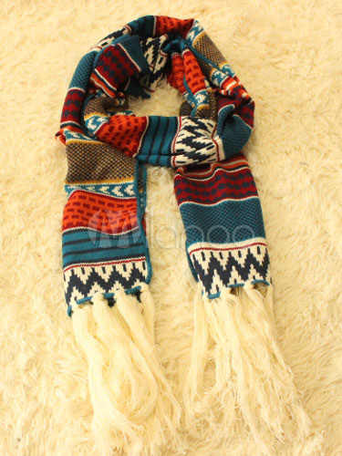 Buy Exotic Style Bohemian Geometric Print Fringe Scarf for $13.29 in Milanoo store