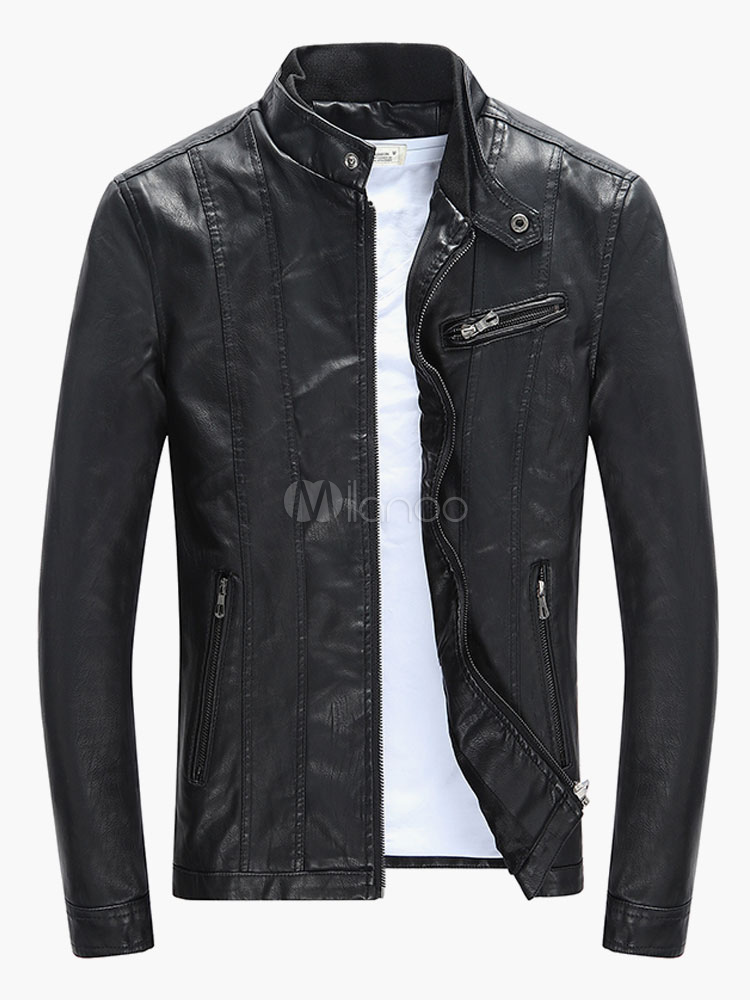 Buy Men Leather Jacket Stand Collar Long Sleeve Zip Up Short Jacket Black Motorcycle Jacket for $36.89 in Milanoo store