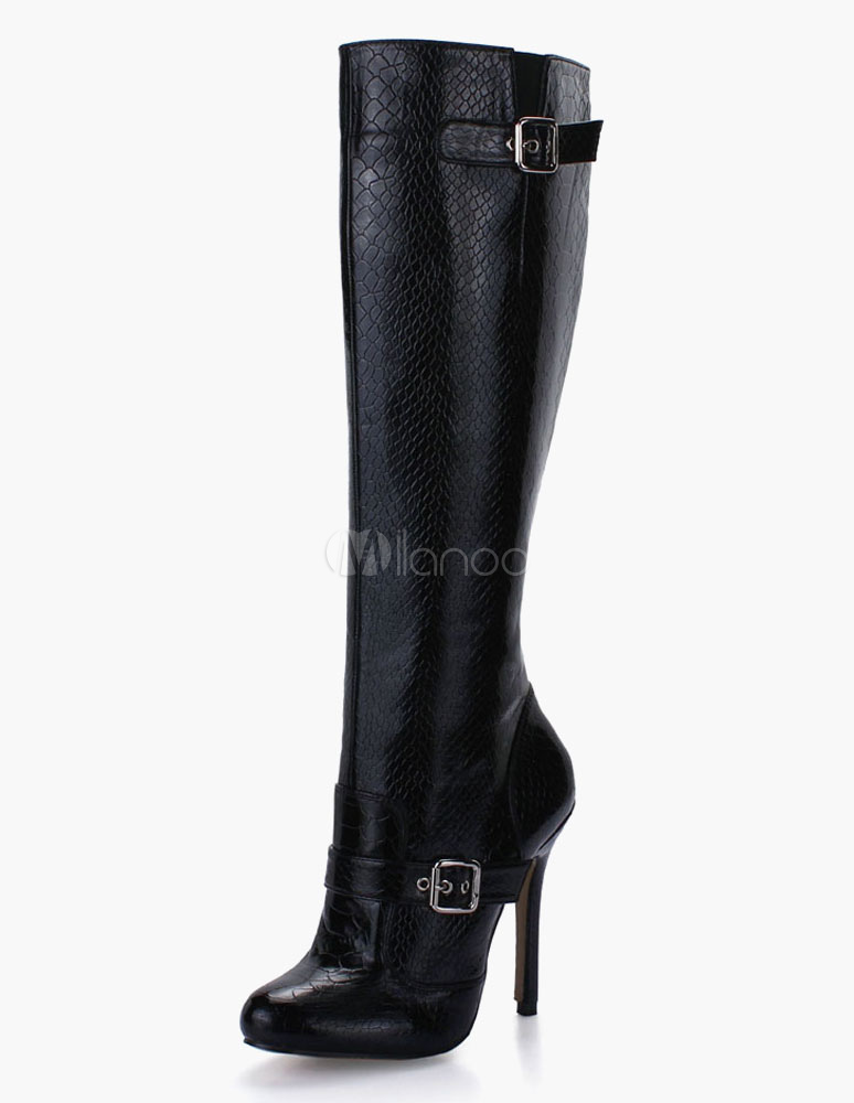 Round Toe Stiletto Heel PU Leather Buckle Knee Length Boots