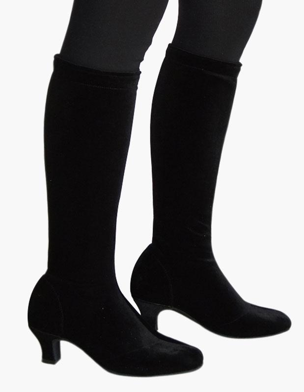 Acentuado de rodilla longitud terciopelo calidad salón de baile zapatos tkdx7t