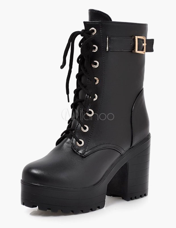 Buckle Platform Lace Up Round Toe Chunky Heel Booties