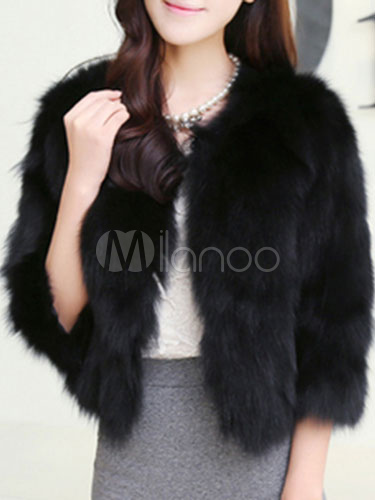Buy Faux Fur Coat Women Faux Fox Fur Jacket Black Winter Fur Coat for $52.47 in Milanoo store