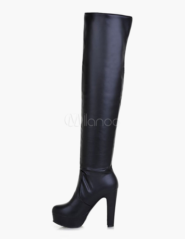 Thigh High Boots Round Toe Platform PU Leather Over Knee Boots